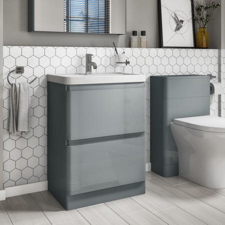 600mm Floor Standing Vanity Unit with Basin Light Grey 2 Drawer- Portland Range