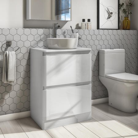 600mm White Freestanding Countertop Vanity Unit with Basin - Portland