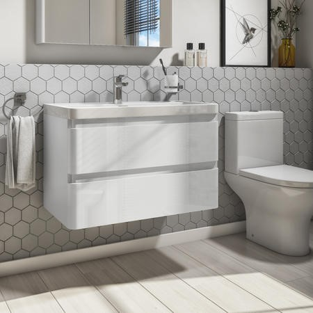 Portland 800mm Wall Hung Vanity Basin Unit White Gloss Double Drawer