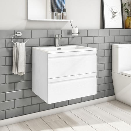 600mm Wall Hung 2 Drawer Vanity Unit with Basin White - Boston