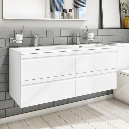 1200mm Wall Hung 4 Drawer Double Vanity Unit with Double Basin White - Boston