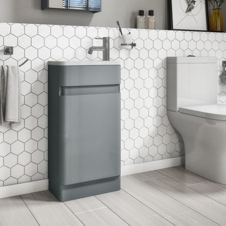 410mm Light Grey Freestanding Cloakroom Vanity Unit with Basin - Portland