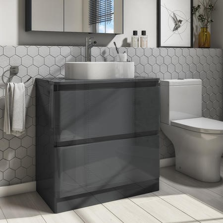 800mm Dark Grey Freestanding Countertop Vanity Unit with Basin - Portland