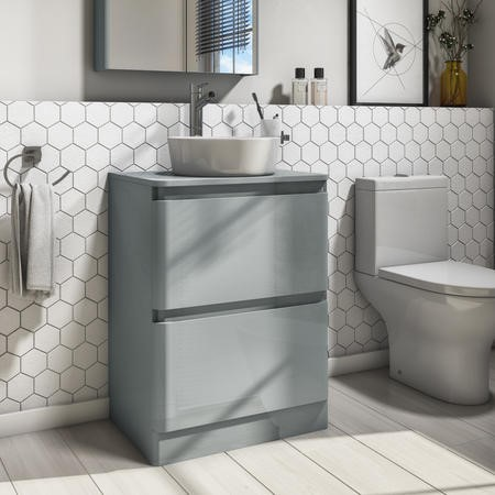 600mm Light Grey Freestanding Countertop Vanity Unit with Basin - Portland
