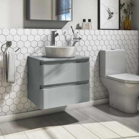 600mm Light Grey Wall Hung Countertop Vanity Unit with Basin - Portland