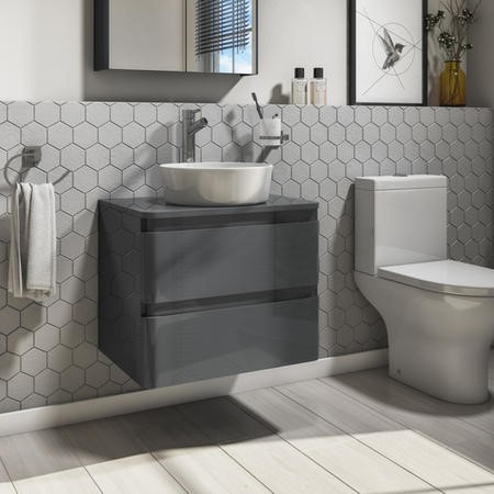 600mm Dark Grey Gloss Wall Hung Vanity Unit with 415mm Countertop Basin - 2 Drawers- Portland