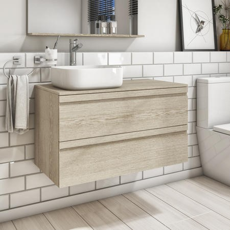 900mm Wall Hung 2 Drawer Vanity Unit with Dover 500mm Basin Light Oak - Boston