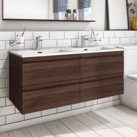 1200mm Wall Hung 4 Drawer Vanity Unit with Basin Dark Oak - Boston