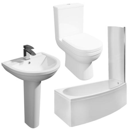 Brooklyn Spacesaver Left Hand Shower Bath Suite with Addison Toilet and Basin
