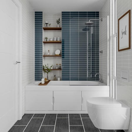 New Haven Right Hand Straight Bath with Storage and Curved Bath Screen - 1700 x 765mm