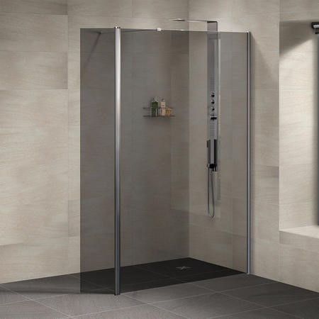 Neptune Walk In Shower Enclosure with Return Panel - 1850 x 1200mm - 8mm Smoked Glass