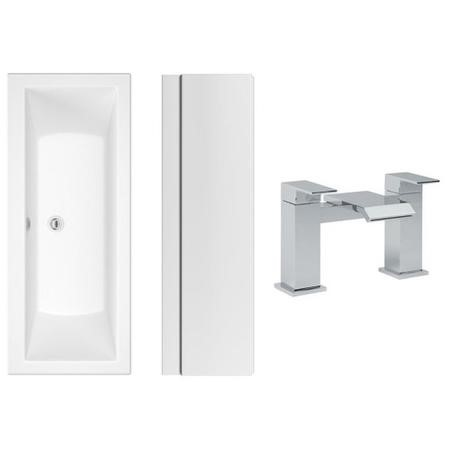 1700 x 750 Chiltern Double Ended Square Bath with Front Panel and Aqua Bath Filler