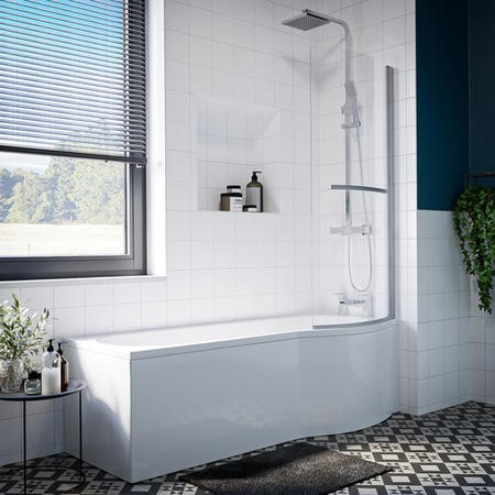 Portland Right Hand P Shape Shower with Front Panel & Bath Screen - 1500 x 800mm