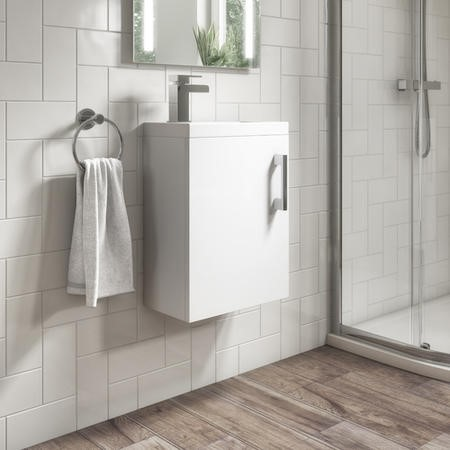 400mm White Wall Hung Vanity Unit with Basin - Ashford