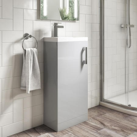 400mm Grey Freestanding Vanity Unit with Basin - Ashford