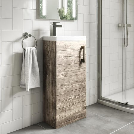 400mm Vanity Unit with Basin - Single Door - Grey Wood Effect - Ashford