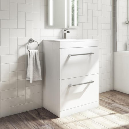 600mm White Freestanding Vanity Unit with Basin and 2 Drawers- Ashford