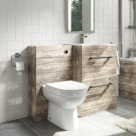 Universal Toilet and Basin Combination Unit -Grey Textured Wood- Ashford and Addison
