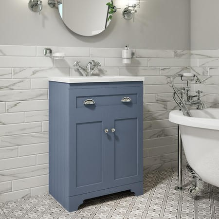 600mm Blue Freestanding Vanity Unit with Basin - Baxenden