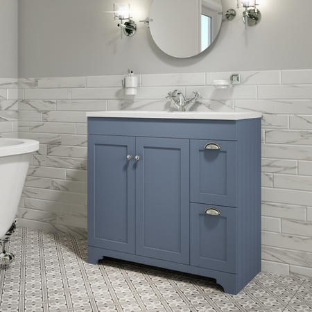900mm Blue Freestanding Vanity Unit with Basin - Baxenden