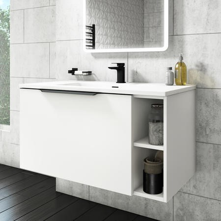 900mm White Wall Hung Vanity Unit with Basin - Sion