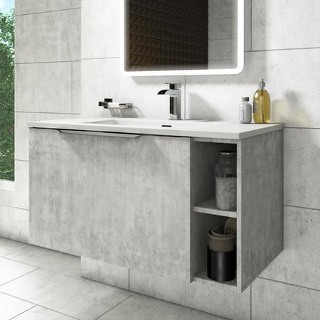900mm Grey Wall Hung Vanity Unit with Basin - Sion