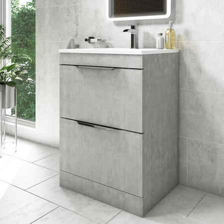 600mm Grey Freestanding Vanity Unit with Basin - Sion