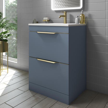 600mm Blue Freestanding Vanity Unit with Basin - Sion