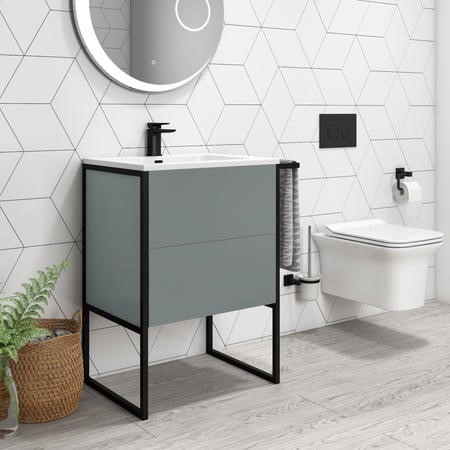 600mm Grey Freestanding Vanity Unit with Basin - Nero