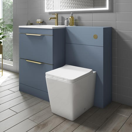 Sion Matt Blue 1100mm Combination Unit with Voss Back to Wall Toilet