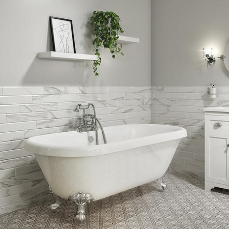 Park Royal Freestanding Double Ended Roll Top Bath White with Chrome Feet - 1795 X 785mm