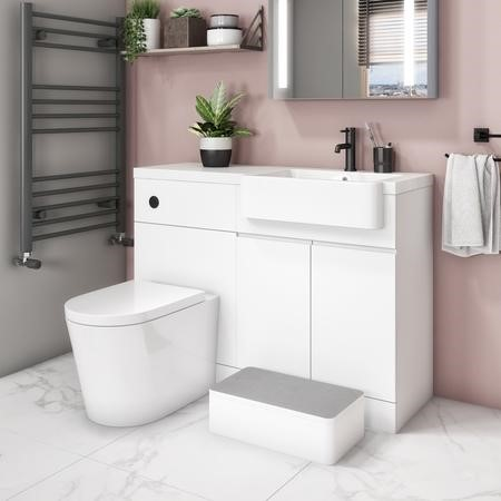 Bali Matt White Toilet and Basin Vanity Combination Unit 1100mm Right Hand with Child Step