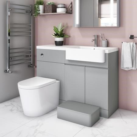 Bali Matt Grey Toilet and Basin Vanity Combination Unit 1100mm Right Hand with Child Step