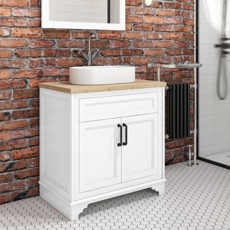 800mm White Freestanding Countertop Vanity Unit with Basin - Camden