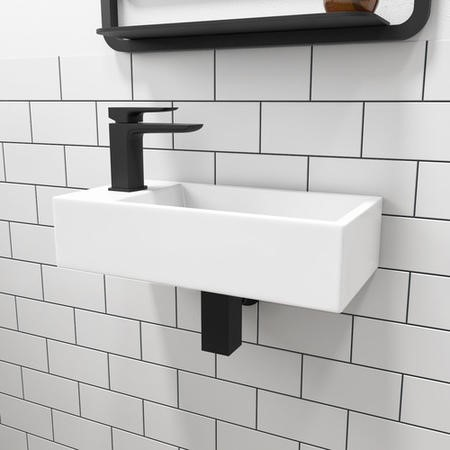 Matt White 405mm Wall Hung Left Hand Basin and Waste - Detroit