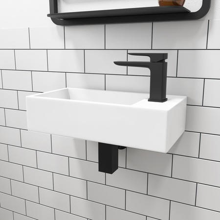 Matt White 405mm Wall Hung Right Hand Basin and Waste - Detroit