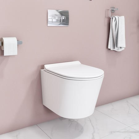 Newport Rimless Wall Hung WC and Soft Close Slim Seat
