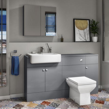 Harper Toilet Basin and Storage Combination Unit 1468mm with Square Back To Wall Toilet - Grey Lacquered