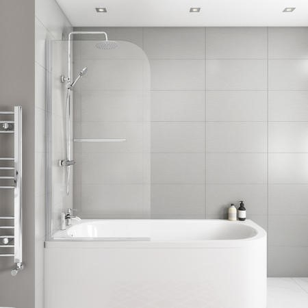 Jersey J Shaped Left Hand Bath 1700mm x 745mm with Front Panel and Saturn Hinged 1450mm Chrome Bath Screen with Towel Rail