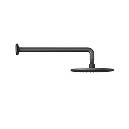 Matt Black Round 250mm Shower Head With Wall Arm