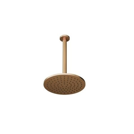 Brushed Bronze Round 250mm Shower Head With Ceiling Arm