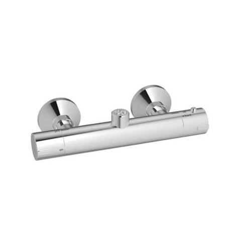 Flow thermostatic round bar shower valve - top outlet