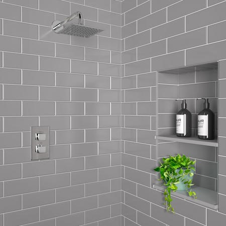 Concealed Square Single Outlet Shower Valve with Square Shower Head and Wall Arm
