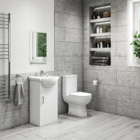 450mm Vanity Unit with Basin & Close Coupled Toilet Suite - Classic