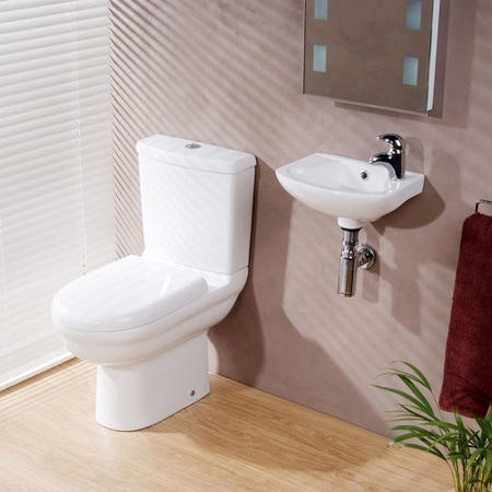 Cloakroom Suite with Close Coupled Toilet and Cloakroom Basin Wall Hung -Micro