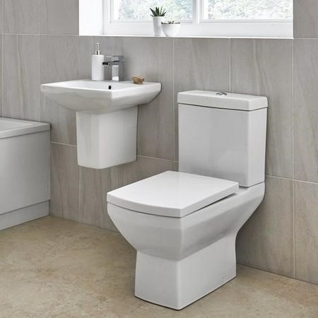 Tabor Close Coupled Toilet and Semi Pedestal Basin Suite