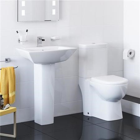 Veneto Close Coupled Toilet & Full Pedestal Basin Bathroom Suite