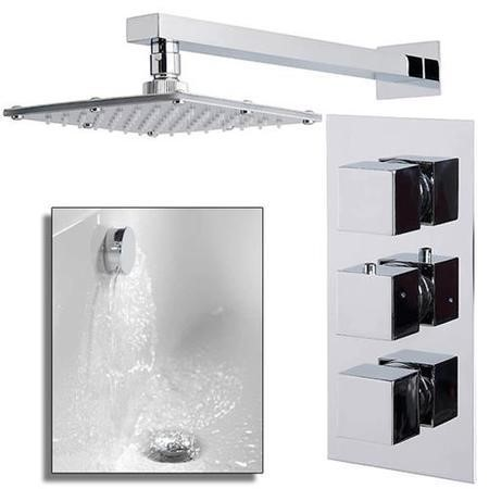 Cube Triple Valve with 175mm Square Shower Head, Wall Arm, Filler & Overflow