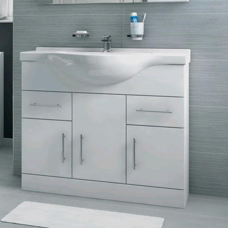 850mm Vanity Unit with Basin - Drawer & Cupboard - White - Windsor Range