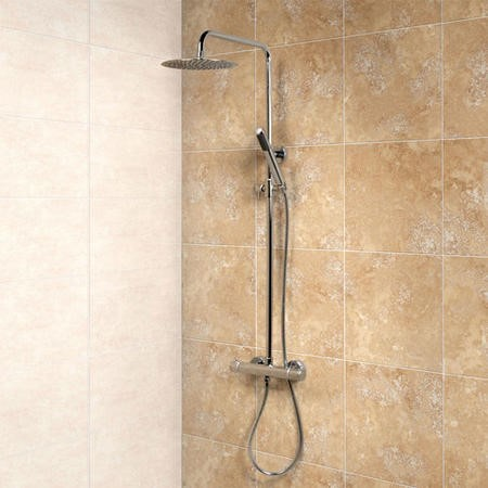 Minimalist Deluxe Ultra Thin 200 Riser Slide Shower Rail Kit & Valve